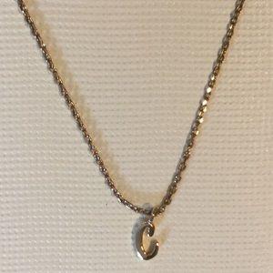 """NWT LC Lauren Conrad """"C"""" necklace in gold tone"""